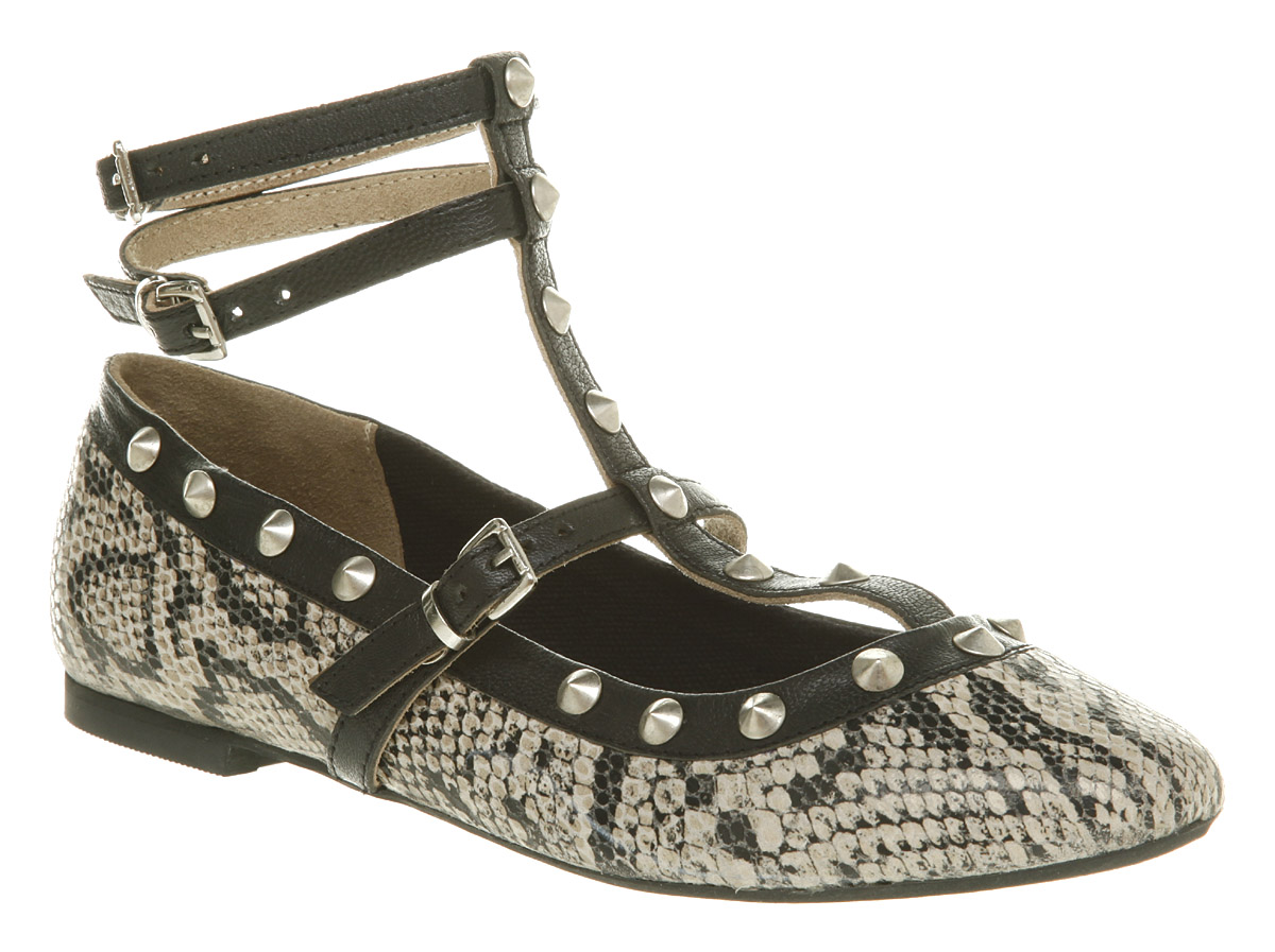 Office Studded ankle Snakeskin print flats