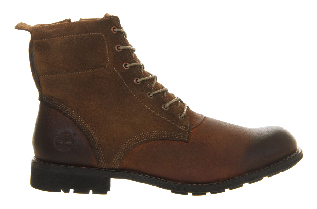 Timberland Ek City 6 Side Zip Red Brown Leather Boots