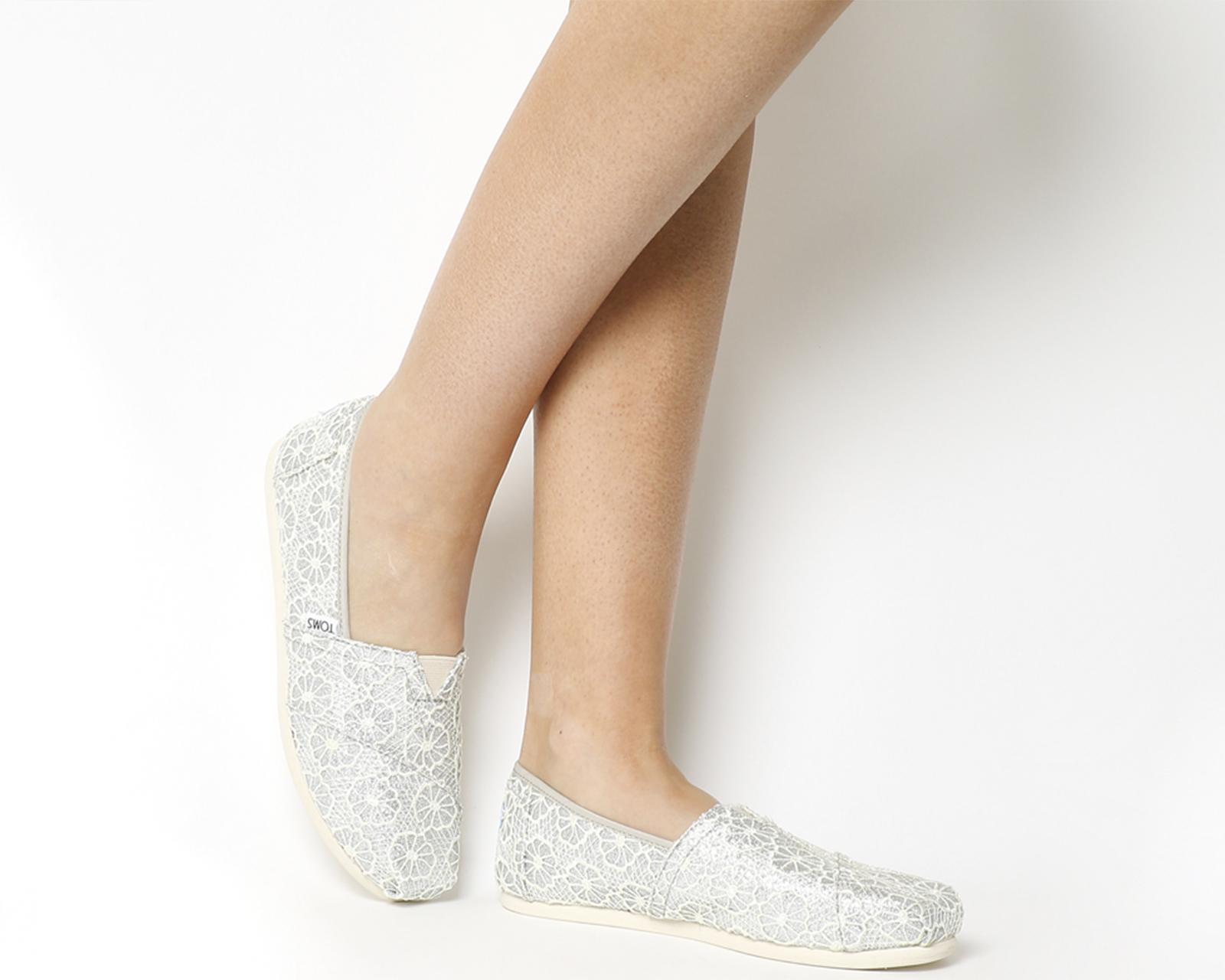Toms Seasonal Classic Slip On Silver Crochet Glitter Flats
